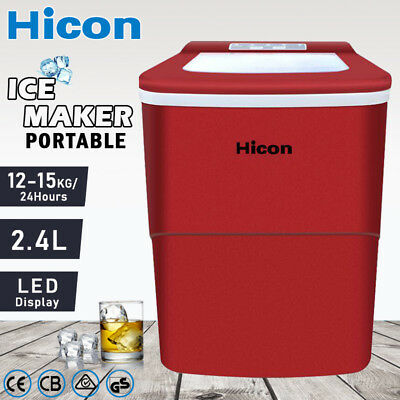 Auto Ice Cube Maker Fast Easy Benchtop Portable Freezer Machine Home Red 2.2L