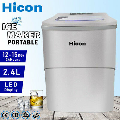 Auto Ice Cube Maker Fast Easy Benchtop Portable Freezer Machine Home Silver 2.2L
