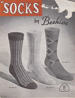 Vintage Knitting Patterns   Socks by Beehive #75   1950s or 1960s