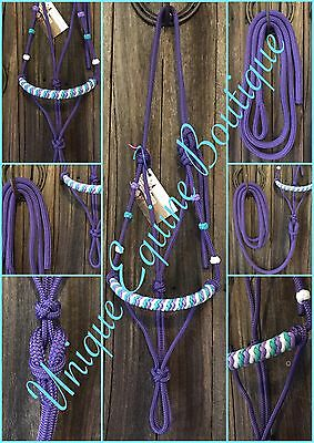 BNWT Horse Size Rope Halter With 8ft Lead ~ Gear Tack Horsemanship