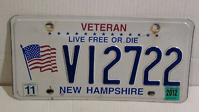 """2012 New Hampshire """"Veteran/Live Free Or Die"""" License Plate (V12722)"""