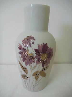 Victorian Milk Glass Vase with Hand-painted flowers