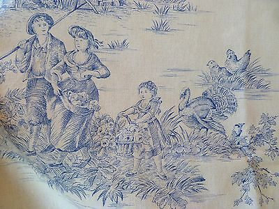 1m~Vintage~Genuine~French~MFTA~Blue~&~Cream~Toile~Upholstery~Fabric~Material~2