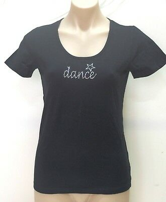 Girls or Women's T-Shirt Top with Rhinestone Dance Logo, Size, Colour Range, New