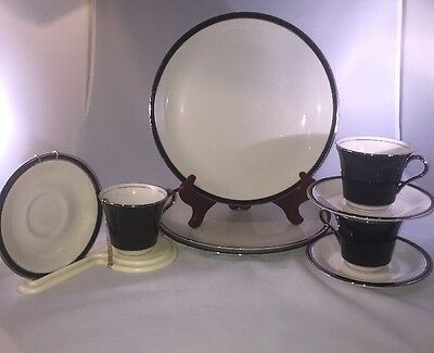 3 Piece Setting Of Shenango American Manor Ebony China Cup w/Saucer/Dinner Plate