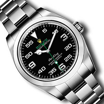 New Rolex Black AIR KING Stainless Steel Box/Papers 116900 BK 2010