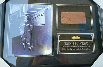 Jean Beliveau Frame Signed Photo with Montreal Forum Brick Piece