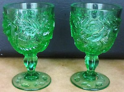 Gorgeous Emerald Green Footed Goblets Set Of 2 Lg Wright Fenton Madonna Inn Leaf
