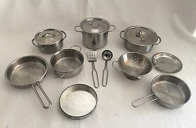 14pc Vintage Metal Cookware Toy Child Size Kitchen Play Food