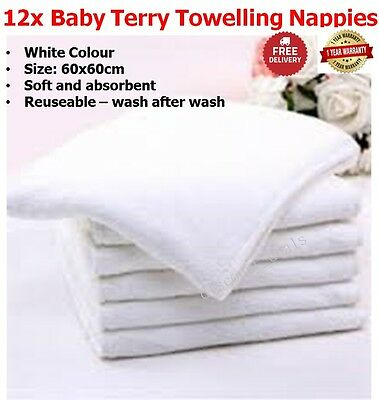 12 Cotton Nappies Baby Terry Towelling Nappies Infant Newborn Cloth Fabric Nappy