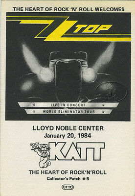 Zz Top 1983-84 Eliminator Tour Katt Radio Promotional Backstage Pass