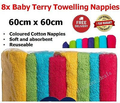 COTTON NAPPIES REUSABLE 8x Baby Terry Towelling NAPPY Washable Coloured Infant
