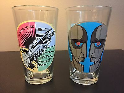 2 Pink Floyd 16oz Beer Pint Drinking Glasses, Wish You Were Here, Division Bell
