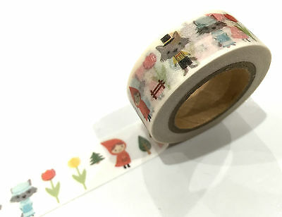 1PC NEW Japanese Washi Tape Craft Sticker, Little Red Riding Hood & Wolf Flowers
