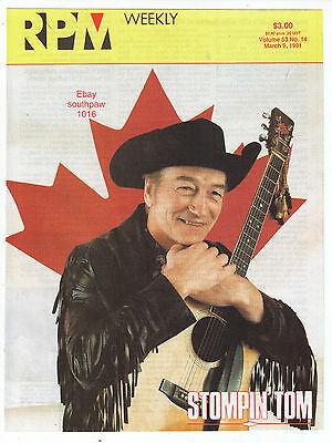 "1991 Stompin' Tom Connors  ""RPM"" Vintage Magazine Cover (only)"