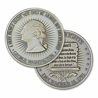 Washington Bust - Bill Of Rights 2A 2 oz .999 Silver Antiqued Finish Round Coin