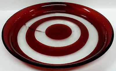 Antique Ruby Stained Bullseye Pattern Glass Drink Bar, Wine Tray Platter