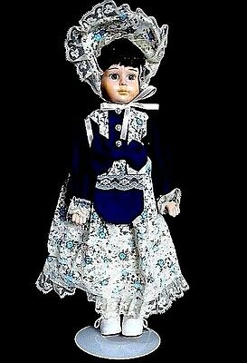 """Vintage Victorian 16"""" Porcelain Doll Hand Painted & Cloth Body New n Box C Pics"""