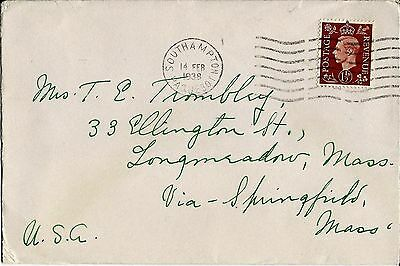 1938 Cunard-White Star Paqueboat Cover To Longmeadow Ma Via Springfield Ma