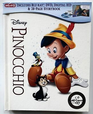 New Pinocchio Blu Ray Dvd + Digital Hd 2 Disc Set Target Exclusive Digibook Rare