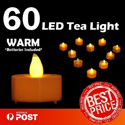 60X LED Tea Light Tealight Candle Flameless Wedding Decoration Battery Included