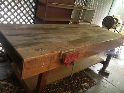 VINTAGE WOODWORKING BENCH - complete with Dawn #9 wood vice