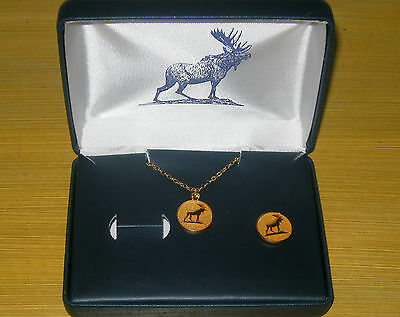 Moose Lodge Lapel Pin & Tie Chain With Storage Case Gold Colored Faux New