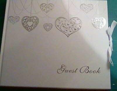 Heart wedding guest book available with butterfly detail
