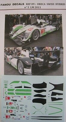 ORECA SWISS  HYBRID n° 5 HOPE RACING LE MANS 2011 DECAL 1/43e FANOU