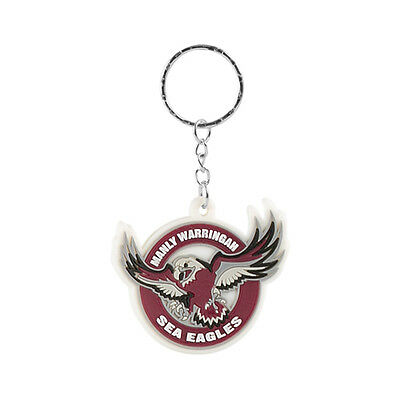 Manly Sea Eagles NRL Rubber Logo Keyring  **NRL OFFICIAL MERCHANDISE**