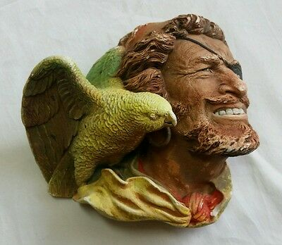 Vintage Bossons Buccaneer w/ Parrot Chalkware Head 1960's Bust England Pirate