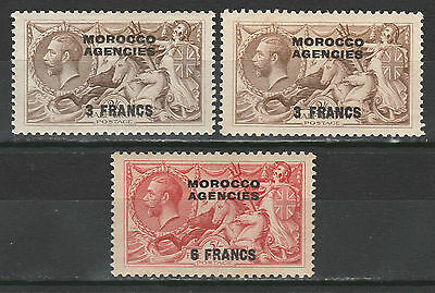 Morocco Agencies French Currency 1924 Kgv Seahorses 26 Both Shades 5/-