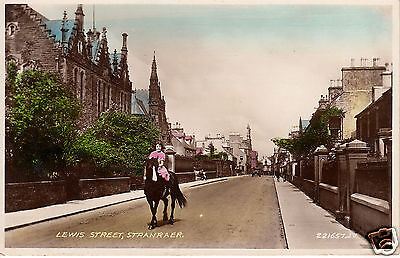 Lewis Street, Stranraer - Girl Riding Horse Along Road - Colour RP PC (P375)
