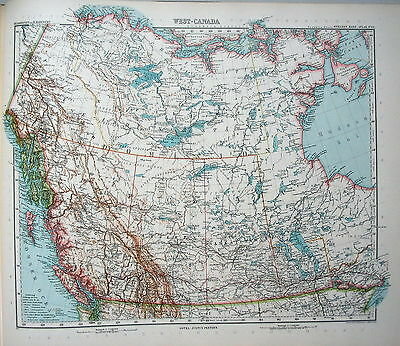 MAP ENGRAVING 1905 JUSTUS PERTHES Western Canada