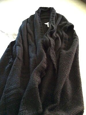 Seed Womens Black Sleeveless Cardigan Vest Knit Ones Size Fits All
