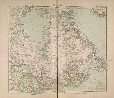 Stielers Hand-Atlas Map 1907 Justus Perthes Gotha East Canada
