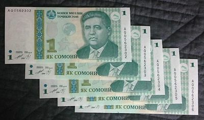 5 x Uncirculated BANKNOTES_TAJIKISTAN~ONE SOMONI_Consecutive Serial Numbers