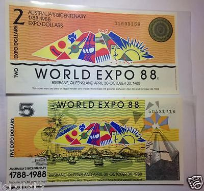 1988 World Expo 88 - Temporary Legal Tender $2 + $5 Bank Notes