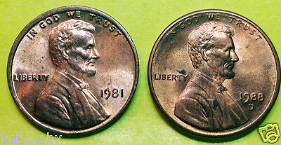 1981 + 1988D Lincoln Memorial Penny/cent (A12-1)