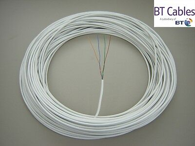 50m White CW1308 2 Pair Solid Copper telephone extension cable BT APPROVED