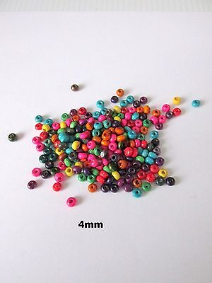 1000pcs + 4mm mix colour wooden spacer beads jewellery making craft UK
