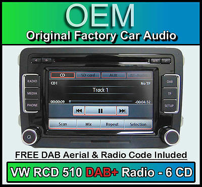VW Golf Plus DAB+ stereo, RCD 510 DAB+ radio 6CD changer, touchscreen SD card