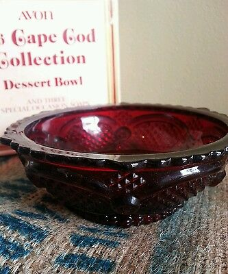 AVON 1876 CAPE COD RUBY RED GLASS BERRY DESSERT BOWL with box and soap