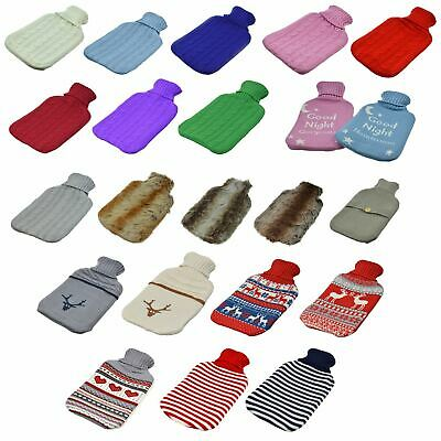 Hot Water Bottle, Large Full Size Bottle With Knitted Covers