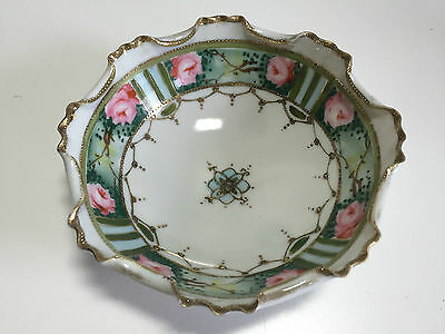 Fluted & Footed HAND PAINTED 'Nippon' Bowl Ruffled Edge Victorian Style Original