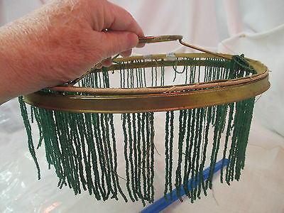 Vintage glass beaded Lamp Ring fringe with brass ring