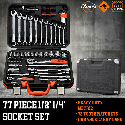 """77pcs Socket Set 1/2"""" 1/4"""" Drive Metric Combination Spanners Wrenches Bits"""