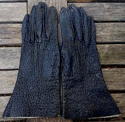 Vintage RUSSELL'S Black Genuine Pigskin Leather Driving Gloves Women's Size 7