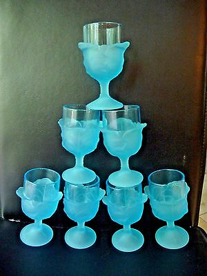 Wine Stems 7 L.G. Wright BLUE CABBAGE LEAF PATTERN RARE Vintage 6+1 RareGorgeous