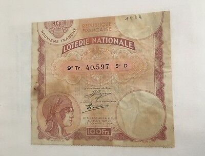 Loterie nationale 1934 100francs